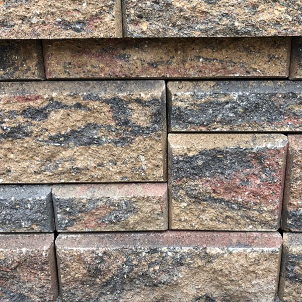 Calstone - Allan Block Collection Wall, Tan Red Charcoal