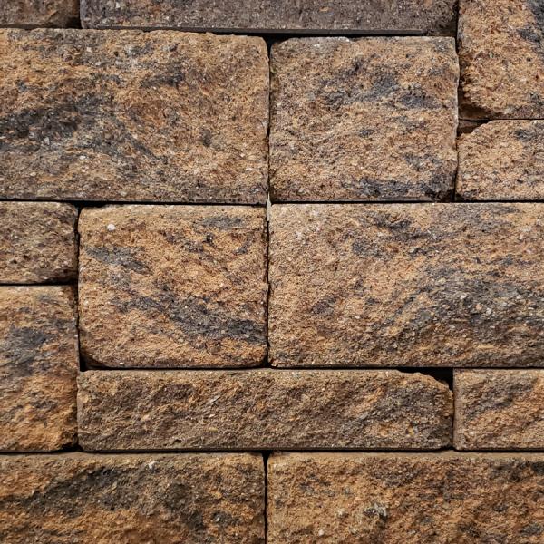 Calstone - Allan Block Europa Collection Wall, Tan Brown Charcoal
