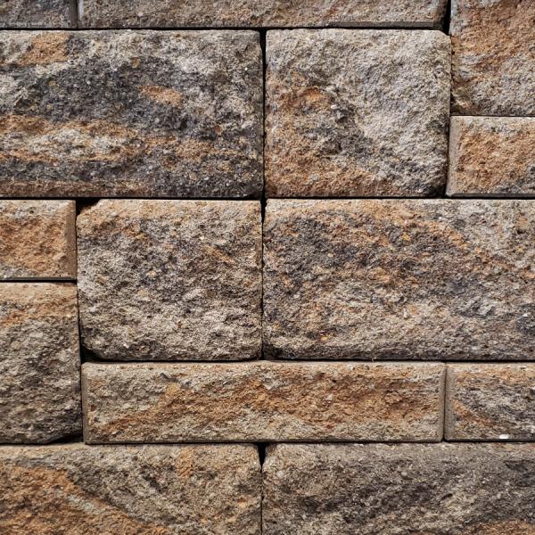 Calstone - Allan Block Europa Collection Wall, Gray Charcoal Tan